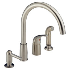 Click here to see Peerless P188900LF-SSSD Peerless P188900LF-SSSD WATERFALL Stainless - With Soap Dispenser One Handle Widespread Kitch Faucet