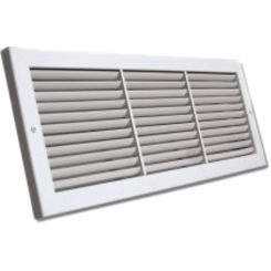 Click here to see Shoemaker 1100FF-16X10 16x10 Soft White Flush Frame Deluxe Baseboard Return Air Grille (Aluminum) - Shoemaker 1100FF-16X10