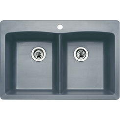 Click here to see Blanco 440219 Blanco 440219 Diamond Silgranit Dual Mount Equal Double-Bowl Sink (Metallic Gray)