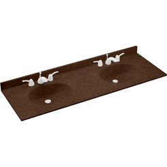 Click here to see Swanstone VT022612B.123 Swanstone VT2B2261-123 Ellipse Double Bowl Vanity Top, 61