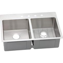 Click here to see Elkay ECTSR33229BG4 Elkay ECTSR33229BG4 Crosstown Stainless Steel Equal Double Bowl Dual Mount Sink Kit
