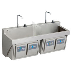 Click here to see Elkay EWSF26026KWSC ELKAY EWSF26026KWSC MANUAL DOUBLE STATION SCRUB SINK W/ KNEE ACTIVATED SOAP/WATER