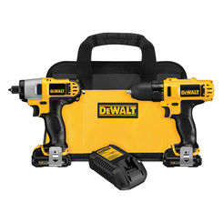 Click here to see Dewalt DCK211S2 Dewalt DCK211S2 Combo Kit, 9 Pieces, 12 V Li-Ion, 1.5 Ah
