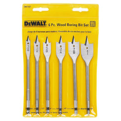 Click here to see Dewalt DW1587 Dewalt DW1587 Heavy Duty Wood Boring Spade Bit Set, 6 Pieces, 3/8-1in