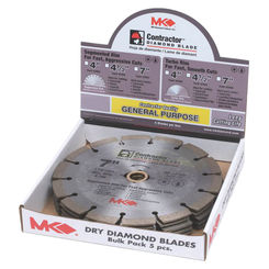 Click here to see MH Diamond 167047 Contractor 167047 Segmented Rim Circular Saw Blade, 7 in Dia x 0.08 in T, 5/8 - 7/8 in Arbor