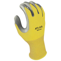 Click here to see Showa Atlas 3704CL-08.RT Atlas 370 Protective Gloves, Size 8, Large, Nitrile, Clear, Nylon Lining
