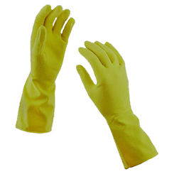 Click here to see Spontex 69983 Hand Care 69983 Protective Gloves, Large, Latex, Yellow, Cotton Flock Lining