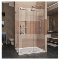 Click here to see DreamLine SHEN-6134480-07 DreamLine Enigma-X Sliding Shower Enclosure w/ Brushed Stainless Steel Trim - SHEN-6134480-07