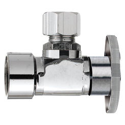 Click here to see Plumb Pak PP51PCLF Plumb Pak PP51PCLF 1/4 Turn Angle Shut-Off Valve, 1/2 X 3/8 in, FIP X OD, Brass Body, Chrome Plated