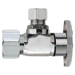 Click here to see Plumb Pak PP61PCLF Plumb Pak PP61PCLF 1/4 Turn Angle Shut-Off Valve, 1/2 X 3/8 in, Nominal Compression X OD, Brass Body, Chrome Plated
