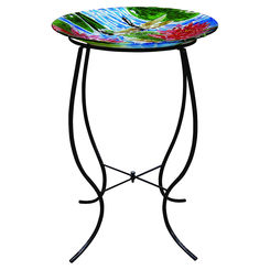 Click here to see Alpine JAY104A-18 Alpine JAY104A-18 Dragonfly With Lily Flowers Bird Bath With Black Metal Stand, 18 in L X 18 in W X 27 in H, Glass