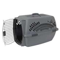Click here to see Doskocil 21183 Pet Porter 21183 Pet Carrier, 2L, 36 in L x 25 in W x 27 in H, Plastic, Dark Gray