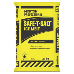 Click here to see Morton 3280 Morton Safe-T-Salt 3280 Rock Salt, 50 lb, Bag, -5 deg F, White, Crystal