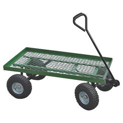 Click here to see Vulcan YTL22114 Vulcan YTL22114 Flat Bed Mesh Body Garden Cart, 38 in L x 20 in W, 600 lb, Steel, Green, Comfort Grip Handle