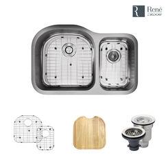 Click here to see Elkay R1-1023L-18 Rene By Elkay R1-1023L-18 Stainless Steel Kitchen Sink Kit - 18-Gauge