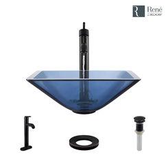 Click here to see Elkay R5-5003-CEL-R9-7001-ABR Rene By Elkay R5-5003-CEL-R9-7001-ABR Celeste Colored Glass Vessel Sink Kit