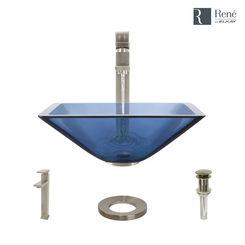 Click here to see Elkay R5-5003-CEL-R9-7003-BN Rene By Elkay R5-5003-CEL-R9-7003-BN Celeste Colored Glass Vessel Sink Kit