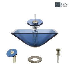 Click here to see Elkay R5-5003-CEL-WF-BN Rene By Elkay R5-5003-CEL-WF-BN Celeste Colored Glass Vessel Sink Kit