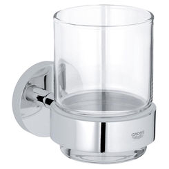 Click here to see Grohe 40447001 Grohe 40447001 Essentials Drinking Glass with Holder, Starlight Chrome