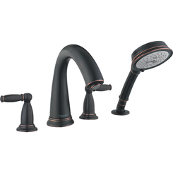 Click here to see Hansgrohe 06132920 Hansgrohe 06132920  Swing C 4-Hole Roman Tub Set Trim with Lever Handles and Handshower, Rubbed Bronze