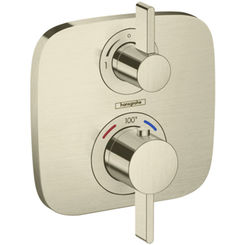 Click here to see Hansgrohe 15707821 Hansgrohe 15707821 SoftCube Ecostat E Thermostatic Trim with Volume Control, Brushed Nickel