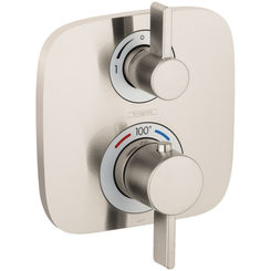 Click here to see Hansgrohe 15708821 Hansgrohe 15708821 SoftCube Ecostatic E Thermostatic Trim with Volume Control and Diverter, Brushed Nickel