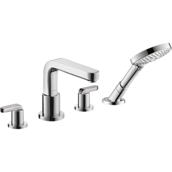 Click here to see Hansgrohe 31408001 Hansgrohe 31408001 Metris S 4-Hole Roman Tub Set Trim with Lever Handles and Handshower, Chrome