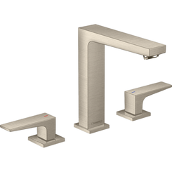 Click here to see Hansgrohe 32517821 Hansgrohe 32517821 Metropol 160 Widespread Faucet with Lever Handles and Pop-Up Drain, Brushed Nickel