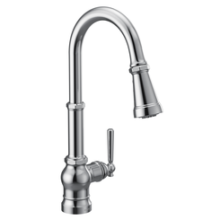 Click here to see Moen S72003 Moen S72003 Paterson Single-Handle Pulldown Kitchen Faucet - Chrome, Lever/Wheel Handles Included