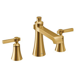 Click here to see Moen TS926BG MOEN TS926BG Flara Two-Handle High Arc Roman Tub Faucet Trim, Lever Handle, Brushed Gold