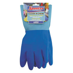 Click here to see Spontex 74043 Clean \'N Chem 74043 Protective Gloves, X-Large, Latex, Blue, Cotton Knit Lining