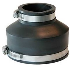 Click here to see Fernco P1056-42 Fernco 1056 Flexible Pipe Reducing Stock Coupling, 4 X 2 in x 3.883 in, Plastic, 4.3 psi, PVC