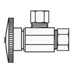 Click here to see Plumb Pak PP2670PCLF Plumb Pak PP2670PCLF Quarter Turn Angle Stop Valve, 5/8 X 7/16 in, Compression X Compression, Chrome Plated