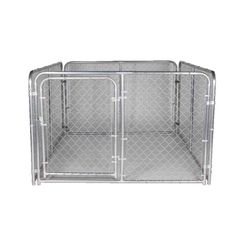 Click here to see SPS Fence DKS16084 spsfence DKS16084 Dog Kennel, 6 ft L x 8 ft W x 4 ft H, Steel, Galvanized