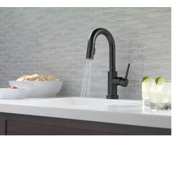 Click here to see Delta 9959T-BL-DST Delta 9959T-BL-DST Matte Black Trinsic Pull-Down Kitchen Faucet