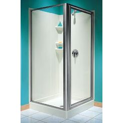 Click here to see Swanstone SD0038ACG.187 Swanstone SD-A38NEOC-187 Brushed Nickel Shower Door Kit, Clear Glass