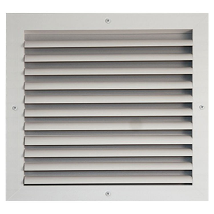 View 2 of Shoemaker CB10-24X8 24X8 Soft White One-Way Adjustable Curved Blade Diffuser (Aluminum) - Shoemaker CB10