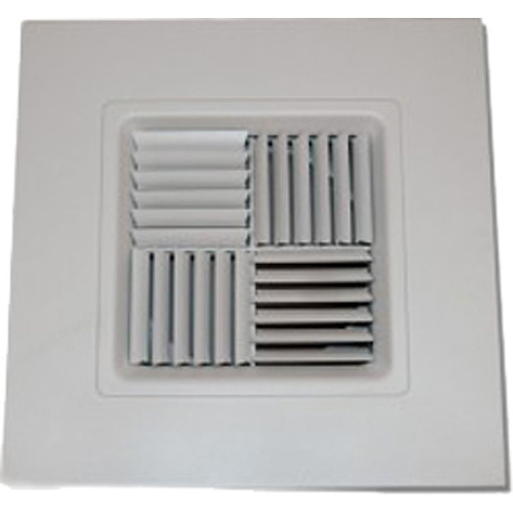 View 2 of Shoemaker 700MA0-10X10 10X10 Soft White Modular Core Diffuser in T-Bar Panel Opposed Blade Damper- Shoemaker 700MA-0