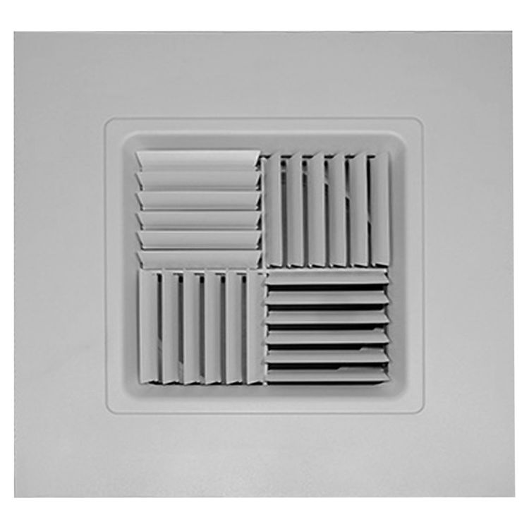 View 2 of Shoemaker 700MA0-14X14-8 14X14-8 Soft White Modular Core Diffuser in T-Bar Panel Opposed Blade Damper- Shoemaker 700MA-0