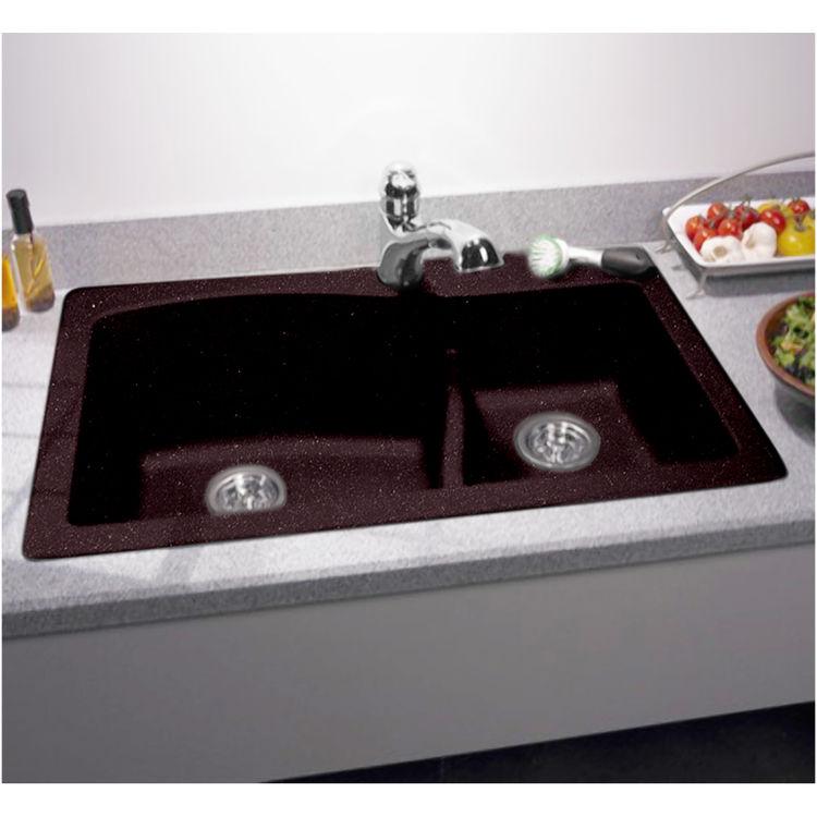 Swanstone QZLS-3322-170 Espresso Drop/Under Large/Small Bowl Kitchen Sink