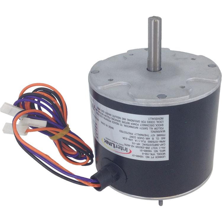 Interlink 100483-21 Condenser Fan Motor 1//5 HP 208//230 1075 RPM Lennox 43W49
