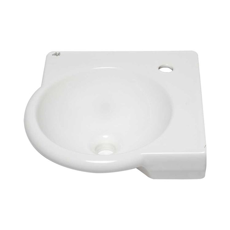 Alfi Ab104 15 Inch Round Cornered White Wall Mounted Porcelain Bathroom Sink