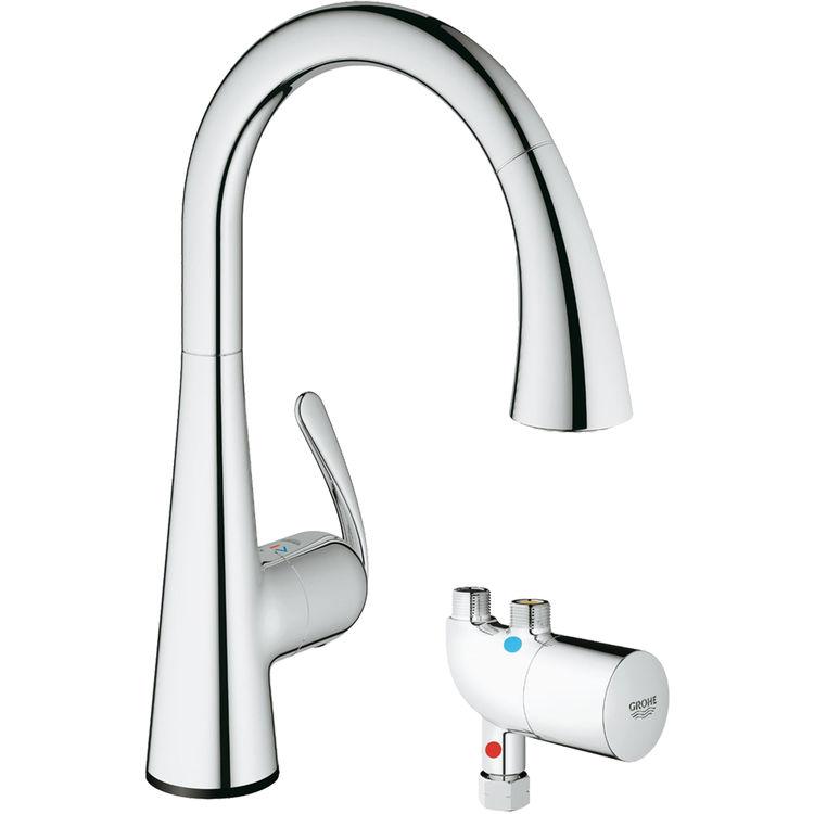GROHE 30226000 Ladylux3 Café Touch Kitchen Faucet w/ Grohtherm (Chrome)