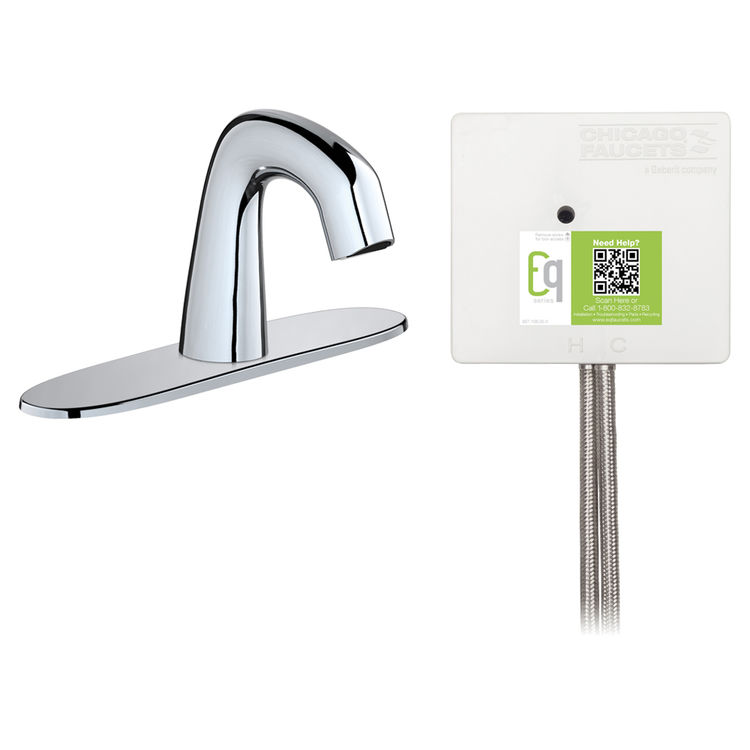 View 2 of Chicago Faucet EQ-D13A-32ABCP Chicago Faucets EQ-D13A-32ABCP EQ Chrome EQ Curved Series Lavatory Sink Faucet with Hands-free Infrared Detection