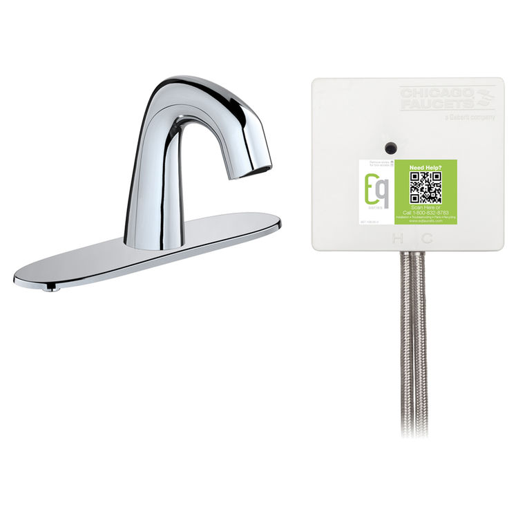 View 2 of Chicago Faucet EQ-D13A-12ABCP Chicago Faucets EQ-D13A-12ABCP EQ Chrome EQ Curved Series Lavatory Sink Faucet with Hands-free Infrared Detection