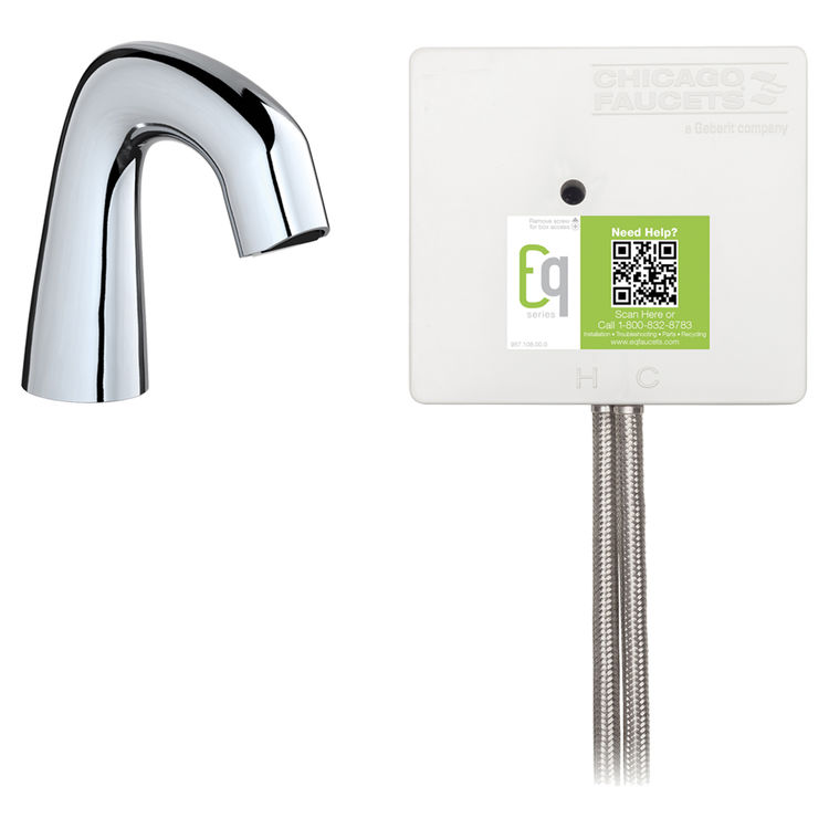 View 2 of Chicago Faucet EQ-A11A-12ABCP Chicago Faucets EQ-A11A-12ABCP EQ Chrome EQ Curved Series Lavatory Sink Faucet with Hands-free Infrared Detection