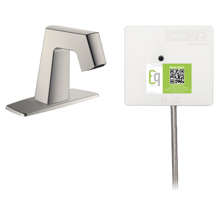 View 2 of Chicago Faucet EQ-B12A-31ABBN Chicago Faucets EQ-B12A-31ABBN EQ Brushed Nickel EQ Angular Series Lavatory Sink Faucet with Hands-free Infrared Detection