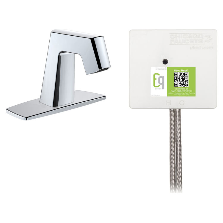 View 2 of Chicago Faucet EQ-B12A-12ABCP Chicago Faucets EQ-B12A-12ABCP EQ Chrome EQ Angular Series Lavatory Sink Faucet with Hands-free Infrared Detection