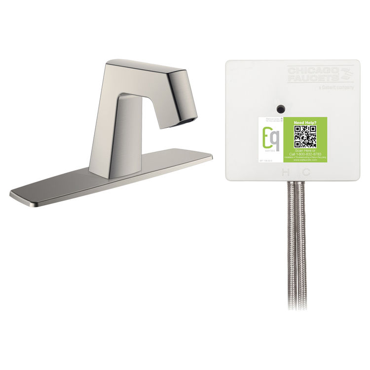 View 2 of Chicago Faucet EQ-B13A-53ABBN Chicago Faucets EQ-B13A-53ABBN EQ Brushed Nickel EQ Angular Series Lavatory Sink Faucet with Hands-free Infrared Detection
