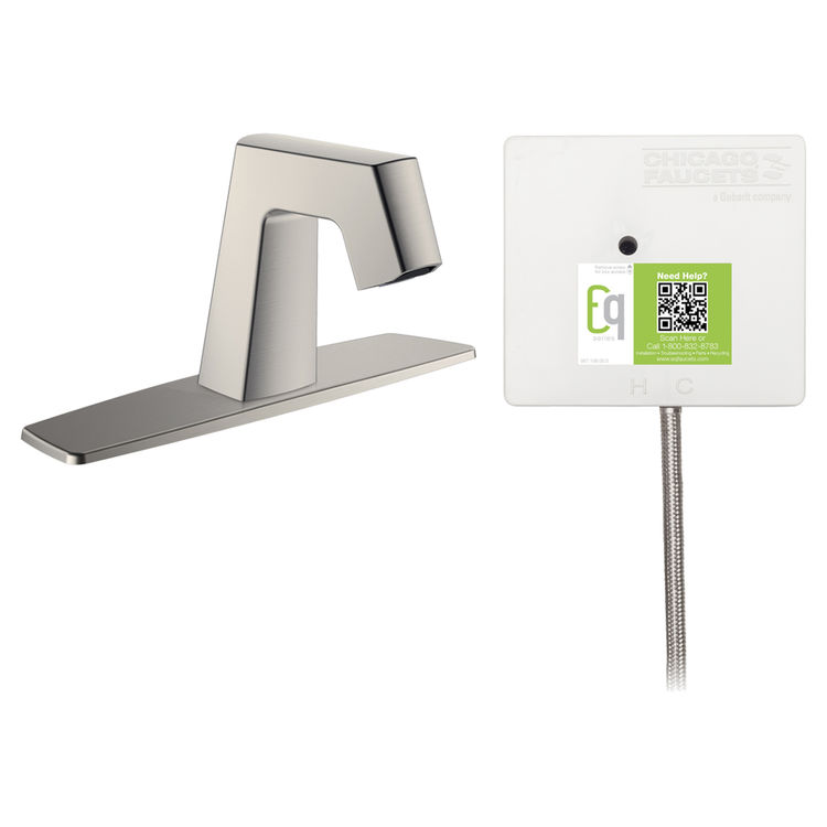 View 2 of Chicago Faucet EQ-B13A-51ABBN Chicago Faucets EQ-B13A-51ABBN EQ Brushed Nickel EQ Angular Series Lavatory Sink Faucet with Hands-free Infrared Detection